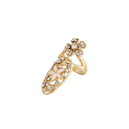 Winter's Secret Diamond Accented Hollow Flower Gold Color Women and Girls Fashion Fingernail Ring (Deco Pasta compare prices)