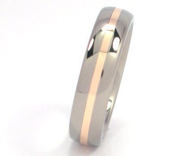 (New 5mm Titanium Wedding Ring With 14k Yellow Gold Inlay, Free Sizing )