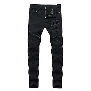 Yzibei Jeans Calientes Pantalones Vaqueros Negros Ajustados ...