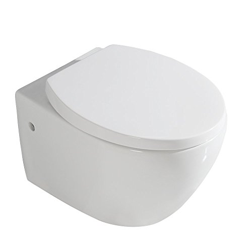 d7f17fdf2da79f image Gimify WC Suspendu Céramique Toilette Mural avec Abattant Lunette  Soft Close (Ovale)