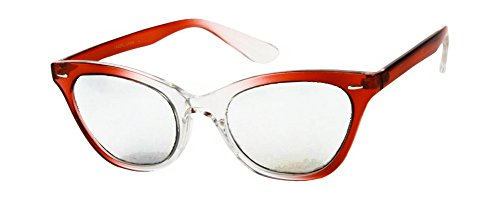 [Retro 50s Nerd Glasses with Red & Clear Fade Frames & Clear Lenses] (1950s Geek Costume)