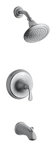 Kohler TS10274-4-G K-TS10274-4-G Forte Sculpted Rite-Temp Bath and Shower Valve Trim with NPT spout and 2.5 gpm showerheadBRUSHED Chrome, Brushed