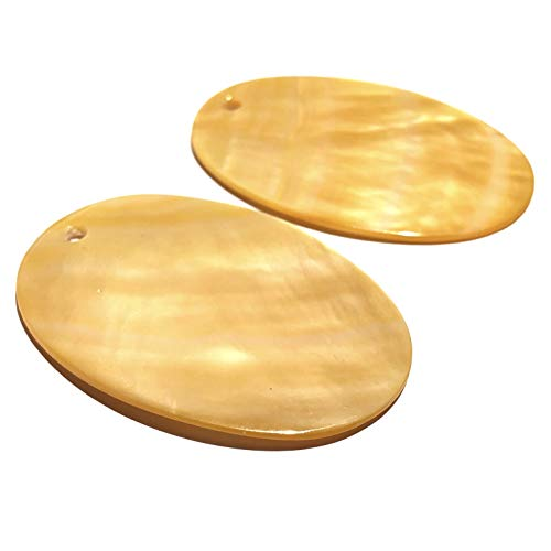 ([ABCgems] Tahitian Golden Lip Oyster Shell (Exquisite Luster- Grade AAA) Precision-Cut Smooth 35X50mm Oval Top-Drilled Pendant for Beading & Jewelry Making (2 Pieces)