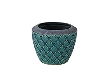 Awesome Moroccan Style Ceramic Plant Pot Cover X 1 16cm Diameter. Duck Egg Colour