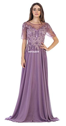 835fb81957 May Queen MQ1589 Embroidered Sheer A-Line Evening Dress in Victorian Lilac