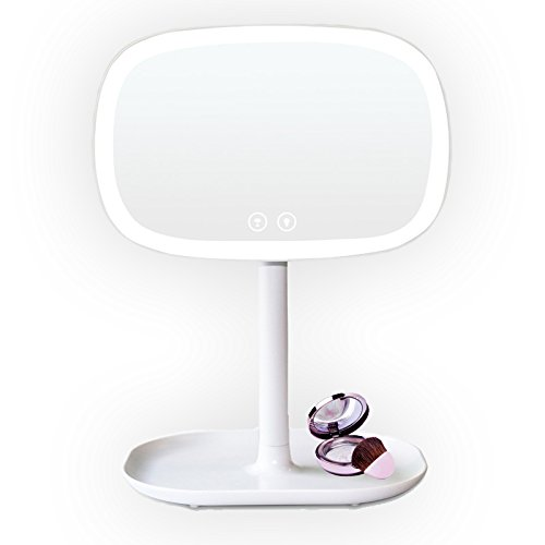 LED Makeup Mirror, 37 LED White Lights Tactile Switch 360 degree Rotation Multi-Power Source 4 AA Batteries or USB Power Cable Countertop Cosmetic Mirror by HomEAZ