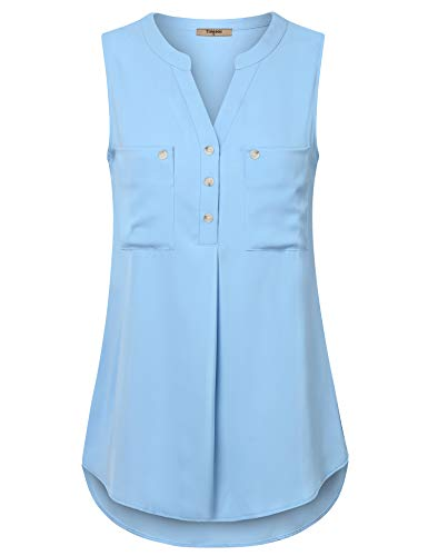 Timeson Sleeveless Chiffon Tank for Women, Blouse Elegant Blue Split Sexy V Neck Sleeveless Tank Shirt Summer Chiffon Dressy Cute Maternity Tunic Peasant Blouses for Office Light Blue X-Large