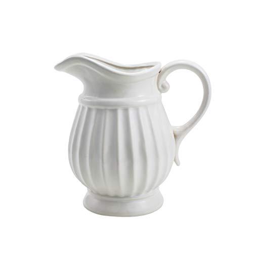 D'vine Dev 7 Inches White Decorative Pitcher Flower Vase for Flower Bouquet - Ideal for Fresh Bouquets, Floral Arrangement, Everyday Home Decoration Vase and Special Events (Vase Pitcher Ceramic White)