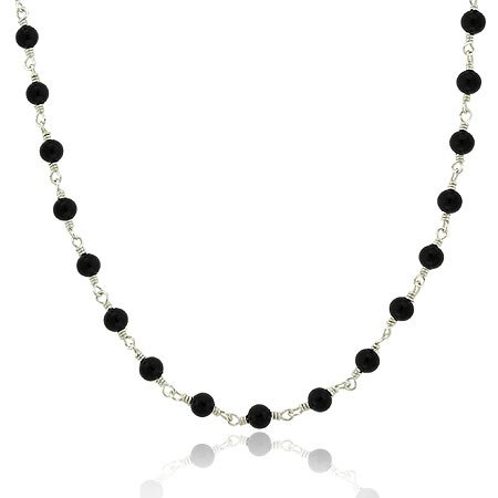 Elegante Kette / Kollier mit Onyx Perlen - Sterling Silber
