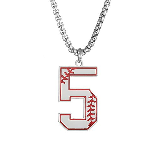 jiana Baseball Number Necklace for Boy,Men Sport Inspiration Initial Number Baseball Jersey Number 5 Charms Stainless Steel Necklace Chain Jewelry Gift