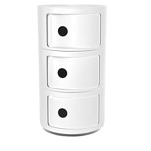 Modern Vertical Bedside Cabinet, Multifunctional Nightstand with 3 Tiers Storage Drawer Circle Storage Table for Bedroom, Living Room,Hallway, Entryway (White)