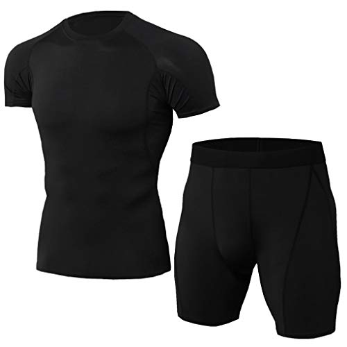 Lefthigh Fast Drying Breathable Sports Tight Suit, Men's Elastic Fitness T-Shirt Short Tops Pants