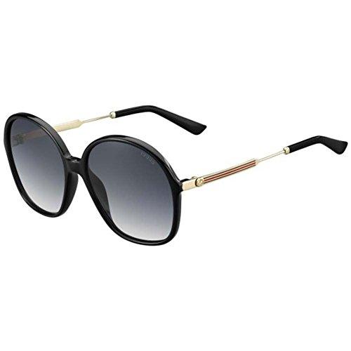 Round Gucci Sunglasses Oversized (Gucci Womens UV Protection Oversized Round Sunglasses Black O/S)