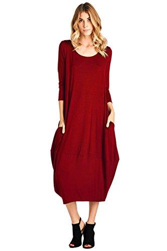 12 Ami Solid 3/4 Sleeve Bubble Hem Pocket Midi Dress Red L