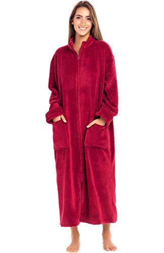 (Alexander Del Rossa Women's Zip Up Fleece Robe, Warm Loose Bathrobe, 1X 2X Burgundy (A0300BRG2X))
