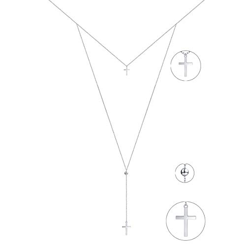 DAOSHANG Layered Necklace S925 Sterling Silver Layered Ball Coin Chain Cross Pendant Double Cross Choker for Women Girls
