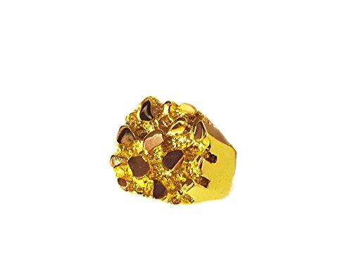 14K Yellow Gold Nugget Design Fashion Ring 20 Grams 23 Mm (4105
