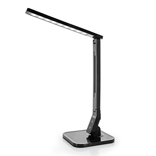 Tenergy 7W Dimmable LED Desk Lamp, 530 Lumens with 5 Dimming Levels, Touch Control with Auto Shut-off Timer, Eye Protection Foldable Table Light for Home and Office by Tenergy
