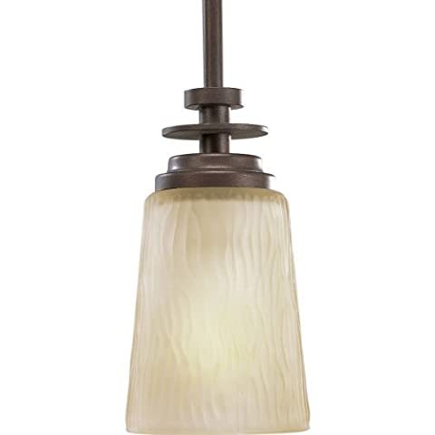 Progress Lighting P5002-88 1-Light Mini-Pendant with Etched Light Topaz Glass, Heirloom by Progress - 88 Heirloom Finish