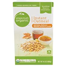 Simple Truth Organic Instant Oatmeal Maple & Brown Sugar Flavored Organically Grown 10 Count Box (Pack of 2)