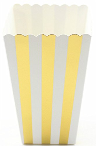 A & A Worldwide Small Paper Popcorn Favor Treat Boxes, Gold Metallic Foil Striped, Pack of 12 - Foil Carton
