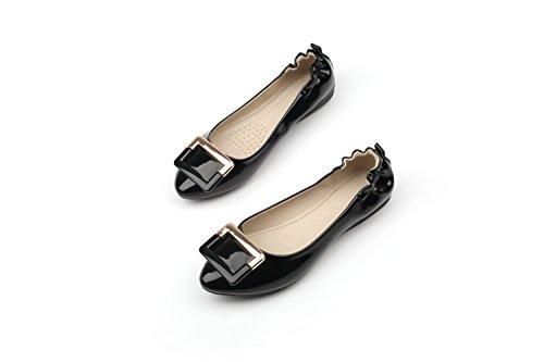 Embarazadas Chicas Tortillas Rojos Las Torta Zapatos Boca Consejos Zapatos Mujeres Pálido De Las Verano Planos Zapatos Solo Negro1 De Soja Femeninos Para GAOLIM Zapatos Zapatos Zapata qETH5wqF