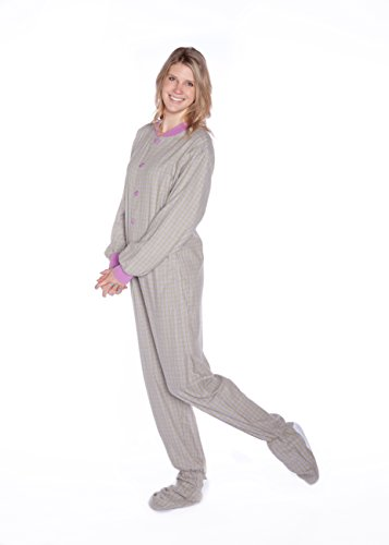 Green & Purple Lavender Plaid Flannel Adult Footie Pajamas w/Drop seat (Lavender Flannel)