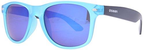 Ocean Sunglasses - Beach wayfarer - lunettes de soleil polarisées  - Monture : Bleu Glacé/Marron Mat - Verres : Revo Bleu (18202.34)