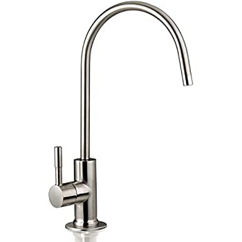 iSpring GA1-BN Kitchen Bar Sink Lead-Free Drinking Water Faucet, Reverse Osmosis Faucet, Contemporary Style, High Spout, Brushed Nickel Finish
