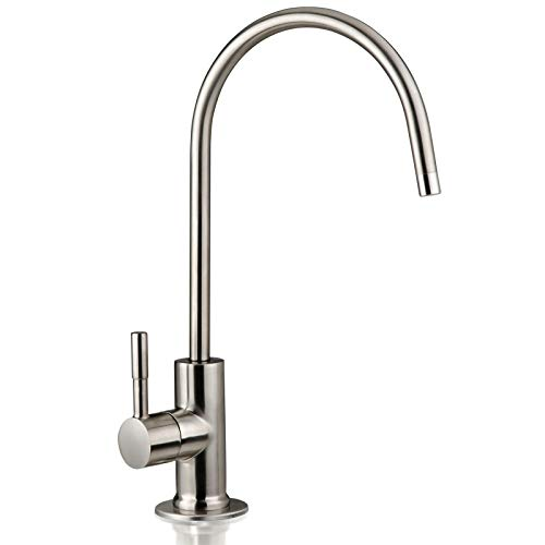 (iSpring GA1-BN Heavy Duty Non-Air Gap Drinking Faucet for Water Filtration, Reverse Osmosis Systems-Brushed Nickel-Contemporary Style High-Spout)