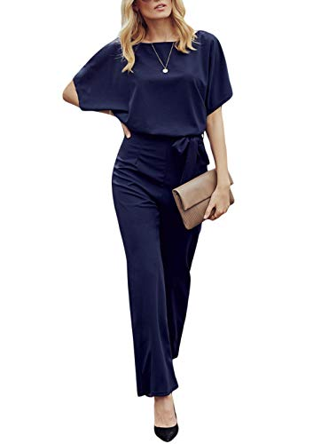 Dressy Evening Suit - QUEENIE VISCONTI Women Summer Wide Leg Jumpsuit - Casual Long Pants Rompers Vacation Dressy Playsuit Navy