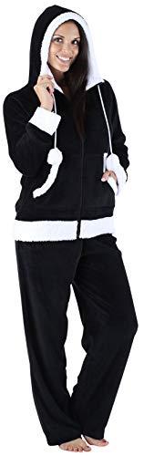 Frankie & Johnny Women's Sleepwear Fleece 2-Piece Zip Hoodie and Pant Pajamas PJ Set, Black (FJ1145-1011-XL) ()