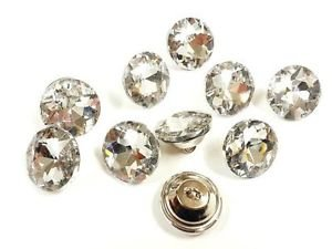 0mm Clear Faceted Cut Glass Crystal Diamante Upholstery Sofa Buttons (Diamante Button)