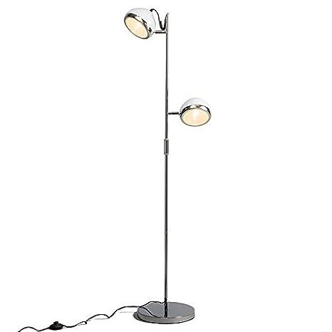 QAZQA Retro/Vintage Lámpara de pie BIKER 2 blanca Vidrio ...