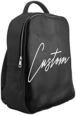Personalized Black Leather Backpack