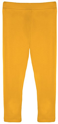 Lilax Girls' Basic Solid Full Length Leggings 3T Mustard -