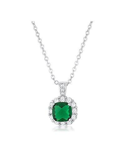 Liz 2.6ct Emerald CZ Rhodium Classic Necklace (2.6 Ct Green)