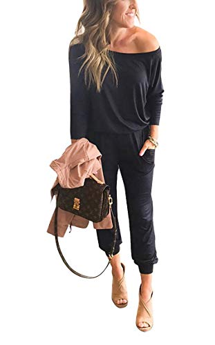- Black Jumpsuits for Women - Long Sleeve Casual One Off Shoulder Long Jumpsuit Rompers with Pockets S