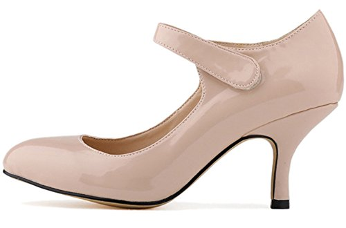 Fangsto Women's Leather High-Heeled Pumps Classic Mary Jane Court Shoes Beige