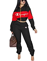 b1a39b77d2 Womens 2 Piece Outfits Tracksuit Set Casual Letter Print Blazer Crop  Sweatshirts and Skinny Long Pants