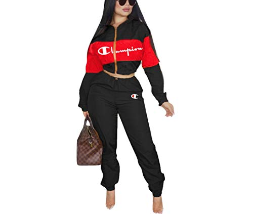 Womens 2 Piece Outfits Tracksuit Set Casual Letter Print Blazer Crop Sweatshirts and Skinny Long Pants Top and Pants Romper Black -