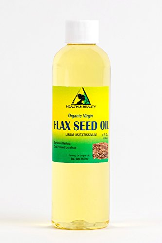 Flax Seed Oil Unrefined Organic Carrier Virgin Cold Pressed Raw Pure 4 oz