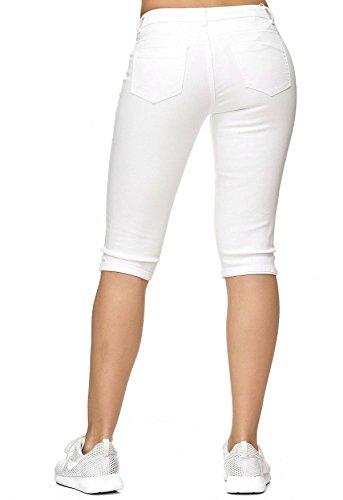 Stretch D2242 Capri Jeans Shorts Bianco 3 4 Donna Pantaloni Distrutti qgwwvXP8