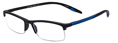 Sportex Readers Rectangular Reading Glasses Men's Semi-Rim, Blue, 1.25 ()