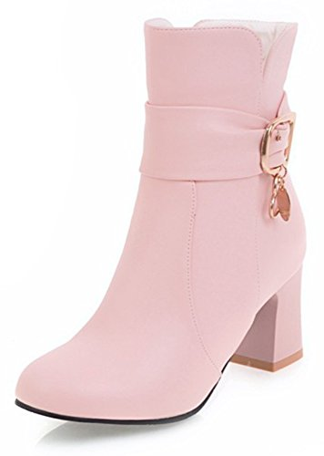 With Aisun Dressy Boots Inside Booties Pointed Pink Up Strap Heel Toe Block Zip Women's Zipper Buckle Mid Ankle Short BgxCwBqAa