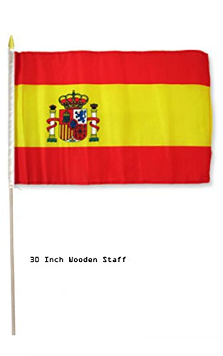 ALBATROS 12 inch x 18 inch Spain Country Stick Flag 30in with Wood Staff for Home and Parades, Official Party, All Weather Indoors Outdoors