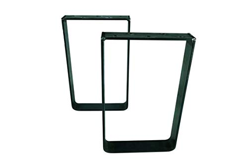 16'' Tall X 16'' Wide Square Table/Bench Legs, 2'' Wide x .25'' Thick Solid Steel Flat Bar, Unfinished Raw Steel, Set of 2