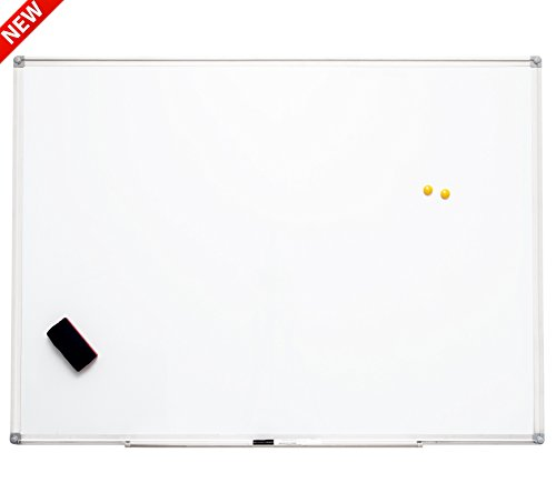 Large Magnetic Dry Erase Whiteboard with Silver Aluminum Frame - 44 x 32 inches - Includes Pen Tray, Marker, Eraser and Magnets. Premium Packaging to Ensure Product Safety.