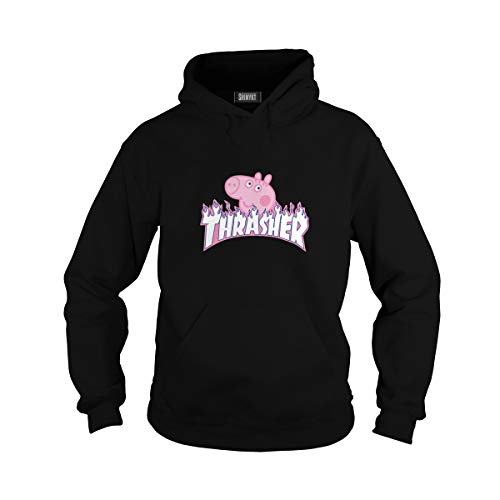 Pig Sweatshirt T-shirt - Unisex Thrasher Peppa Pig Hoodie (M, Black)