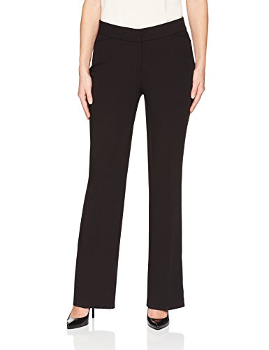 Lark & Ro Women's Bootcut Trouser Pant: Curvy Fit, Black, 10L Back Zip Stretch Trousers
